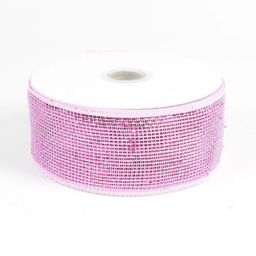 Metallic Deco Mesh Ribbons Pink ( 4 inch x 25 yards )