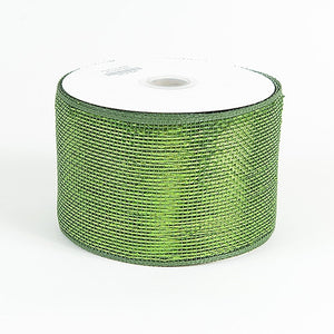 Metallic Deco Mesh Ribbons Moss ( 4 inch x 25 yards ) -