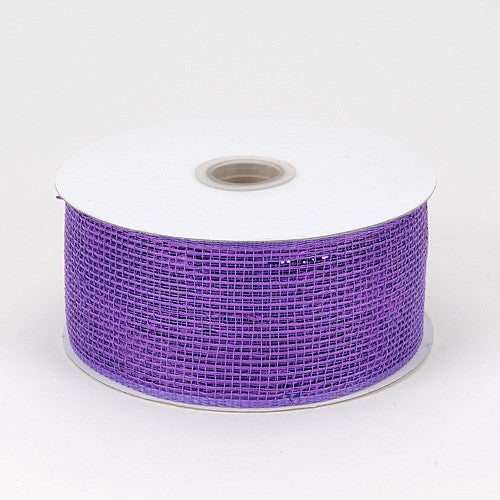 Metallic Deco Mesh Ribbons Purple ( 4 inch x 25 yards )