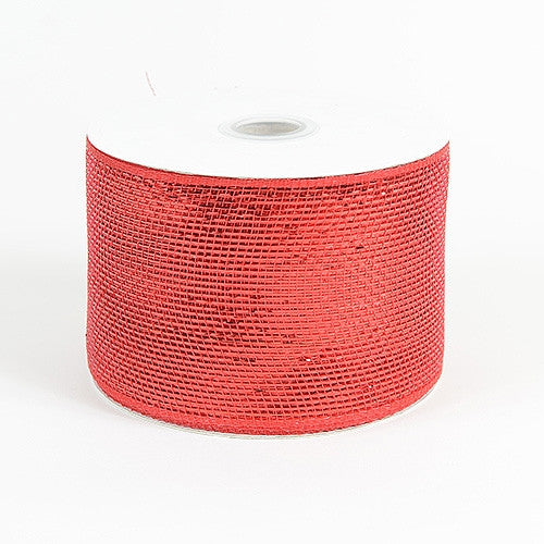 Metallic Deco Mesh Ribbons Red ( 4 inch x 25 yards )