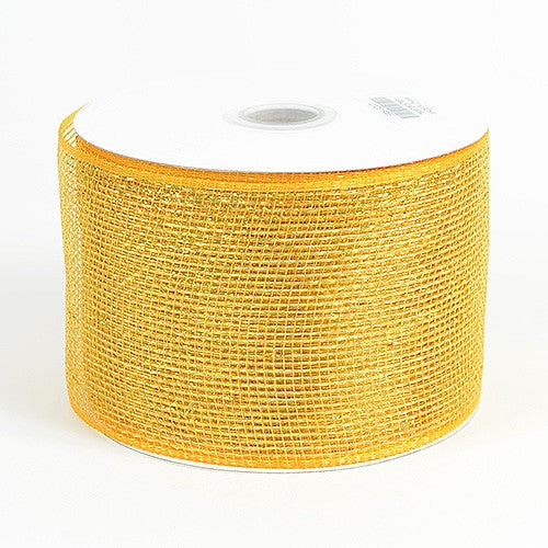 Metallic Deco Mesh Ribbons Gold ( 4 inch x 25 yards )