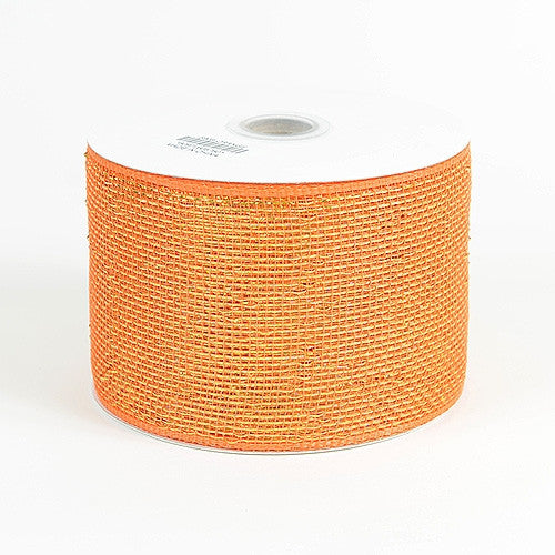 Metallic Deco Mesh Ribbons Orange ( 4 inch x 25 yards )