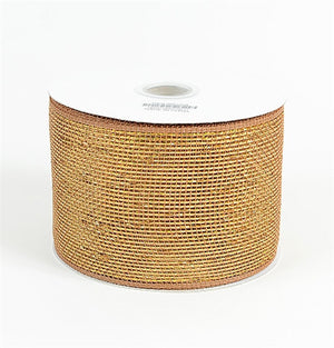 Metallic Deco Mesh Ribbons Chocolate Brown ( 4 inch x 25 yards ) -