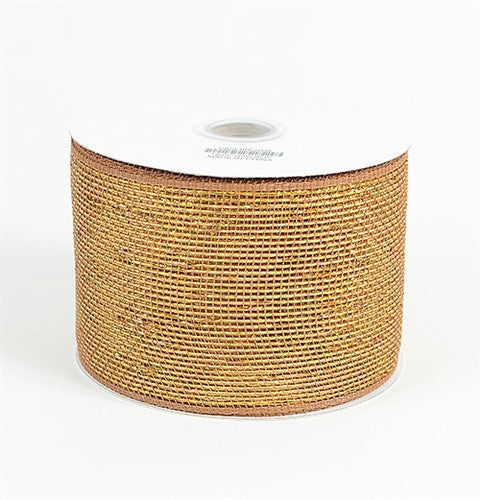 Metallic Deco Mesh Ribbons Chocolate Brown ( 4 inch x 25 yards )