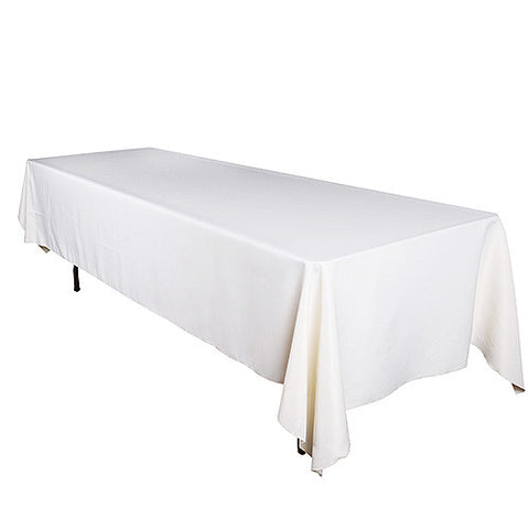 Ivory  90 x 156 Rectangle Tablecloths  ( 90 inch x 156 inch )- Ribbons Cheap
