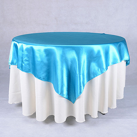 Turquoise  60 x 60 Satin Table Overlays  ( 60 x 60 Inch )- Ribbons Cheap