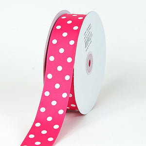 Grosgrain Ribbon Polka Dot Fuchsia with White Dots ( W: 3/8 inch | L: 50 Yards ) -