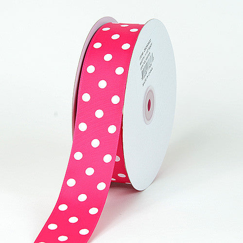 Grosgrain Ribbon Polka Dot Fuchsia with White Dots ( 1-1/2 inch | 50 Yards ) -