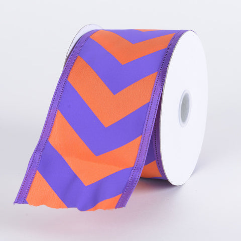 Chevron Print Satin Ribbon Purple with Orange ( W: 1-1/2 inch | L: 10 Yards ) -