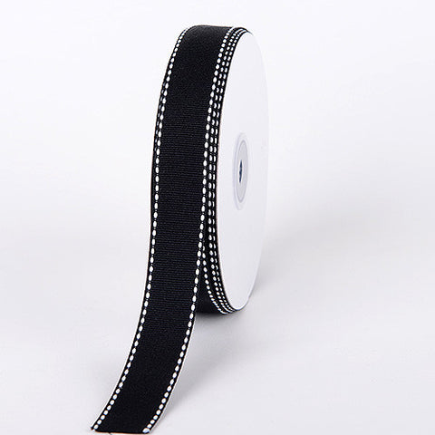 Grosgrain Ribbon Stitch Design Black ( W: 3/8 inch | L: 25 Yards ) -