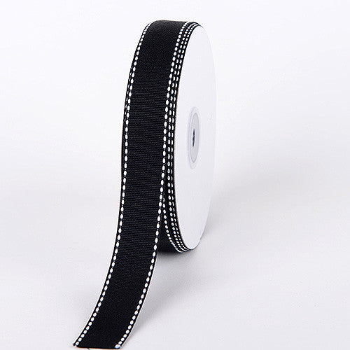 Grosgrain Ribbon Stitch Design Black ( 5/8 inch | 25 Yards ) -