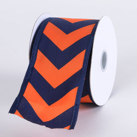 Chevron Print Satin Ribbon Navy Blue with Orange ( W: 1-1/2 inch | L: 10 Yards ) -
