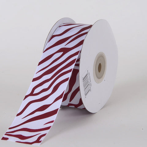Grosgrain Ribbon Animal Print Wine ( W: 5/8 inch | L: 25 Yards ) -