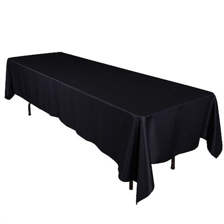 Black 60 x 126 Inch Premium Polyester Rectangle Tablecloths- Ribbons Cheap