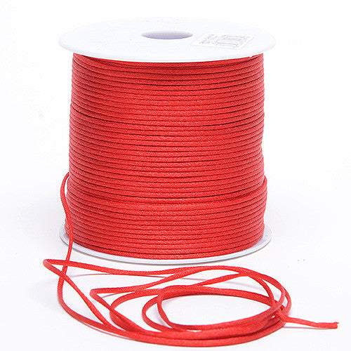 3mm Satin Rat Tail Cord Red ( 3mm x 100 Yards )