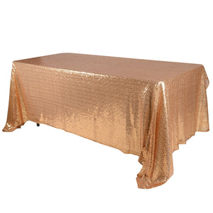 Gold 60x126 inch Rectangular Duchess Sequin Tablecloth- Ribbons Cheap