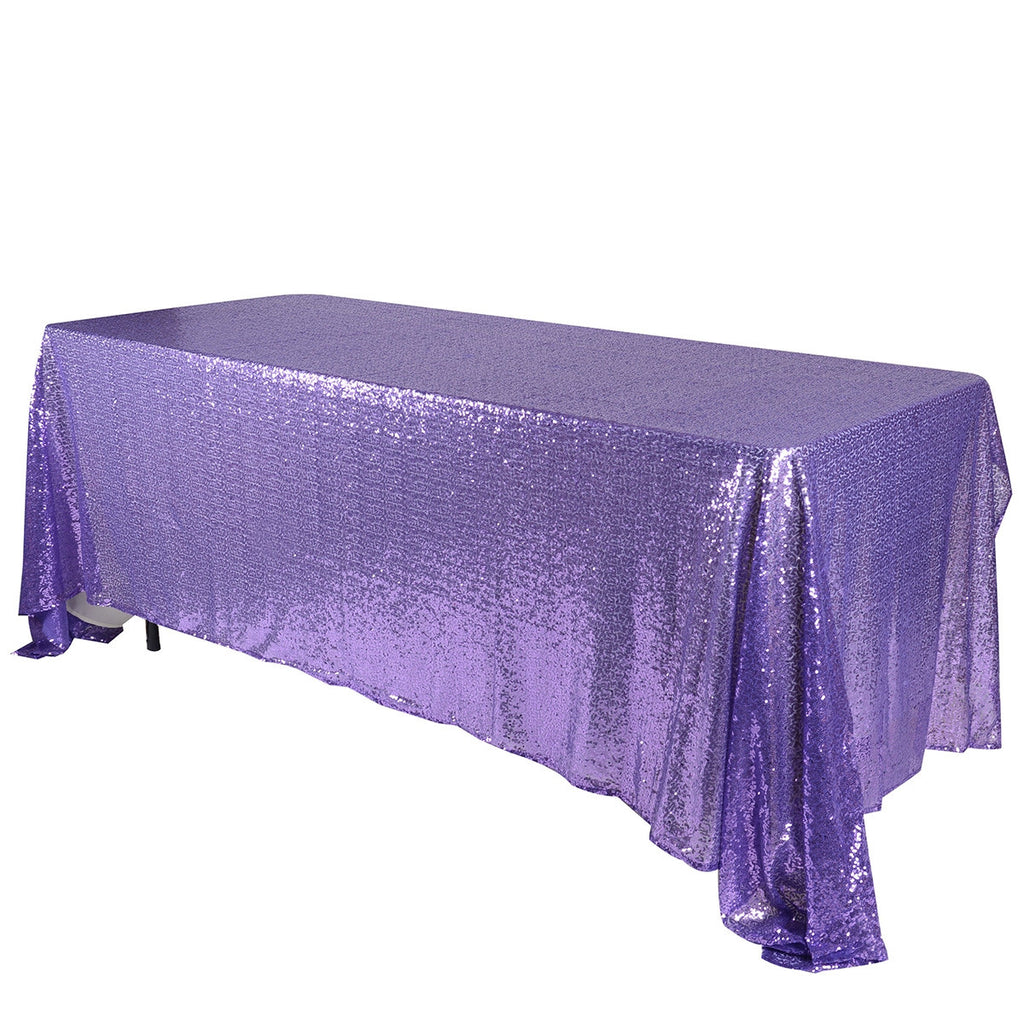 Purple 60x102 inch Rectangular Duchess Sequin Tablecloth- Ribbons Cheap