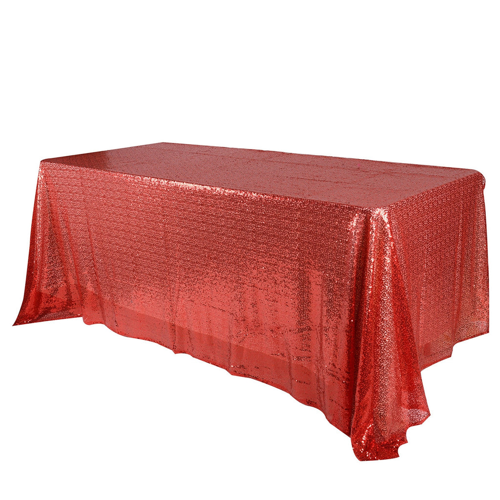 Red 60x126 inch Rectangular Duchess Sequin Tablecloth- Ribbons Cheap
