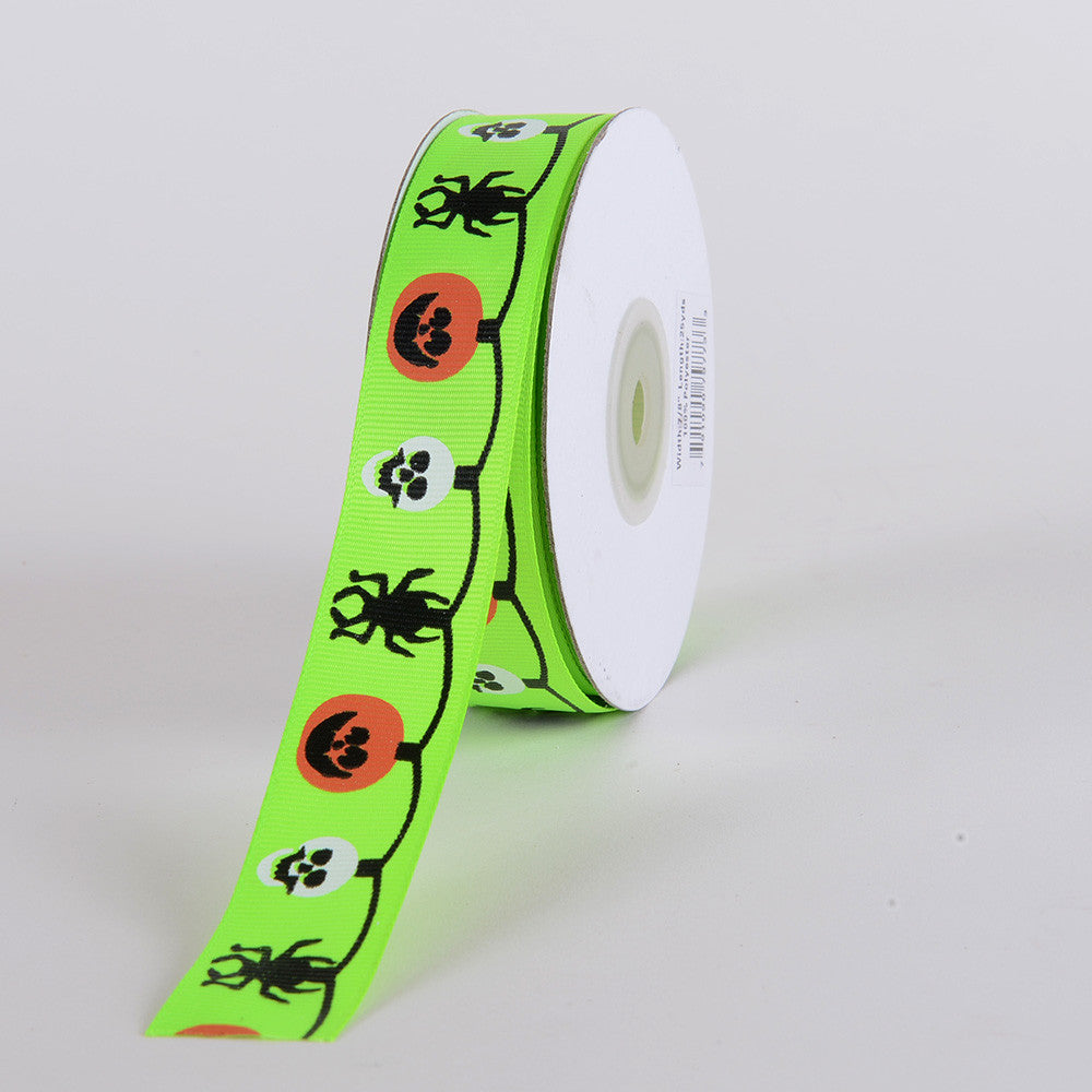 Halloween Ribbon Neon Green ( 7/8 inch x 25 yards ) -