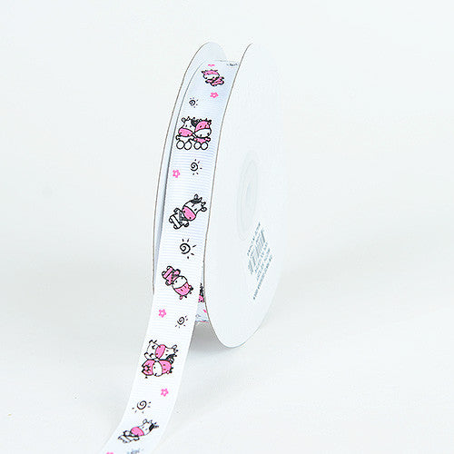 Grosgrain Ribbon MooMoo Cow Print White ( 7/8 inch | 25 Yards ) -