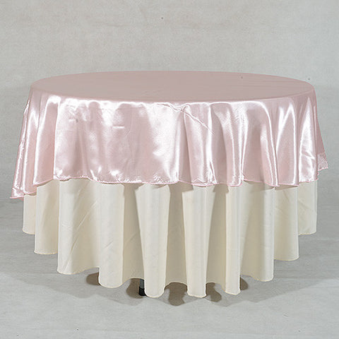 Light Pink  90 Inch Satin Round Tablecloths- Ribbons Cheap