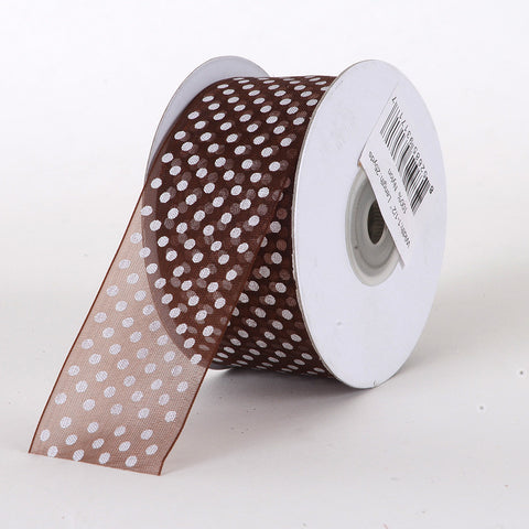 Organza Swiss Dots Ribbon Brown ( W: 3/8 inch | L: 25 Yards ) -
