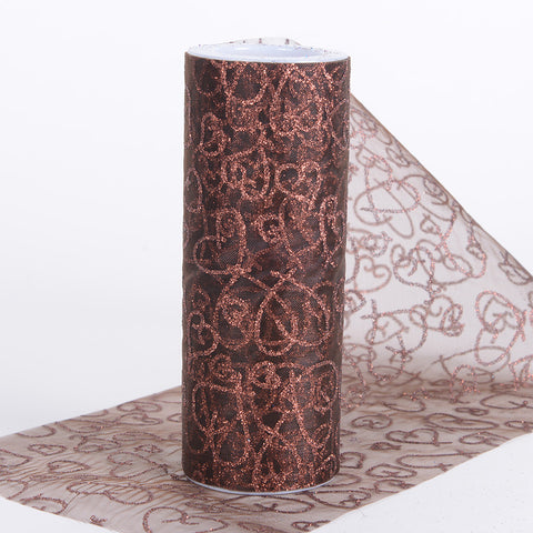 6 inch Glitter Hearts Organza Roll Chocolate Brown ( W: 6 inch | L: 10 Yards ) - Ribbons Cheap