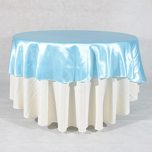 Light Blue  90 Inch Satin Round Tablecloths- Ribbons Cheap