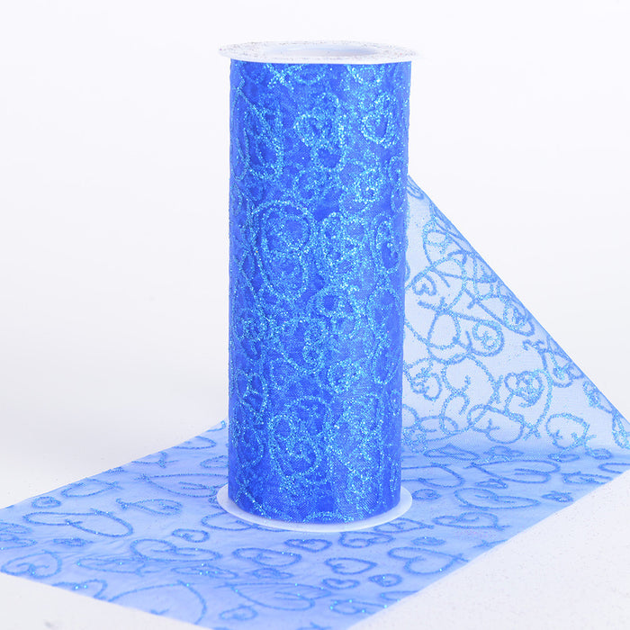 6 inch Glitter Hearts Organza Roll Royal Blue ( W: 6 inch | L: 10 Yards )