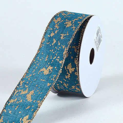 Christmas Ribbon Canvas with Gold Splatter ( 1-1/2 Inch x 10 Yards ) -