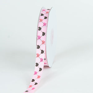 Grosgrain Ribbon Plaid Sweetheart Print Light Pink ( 5/8 inch | 25 Yards ) -