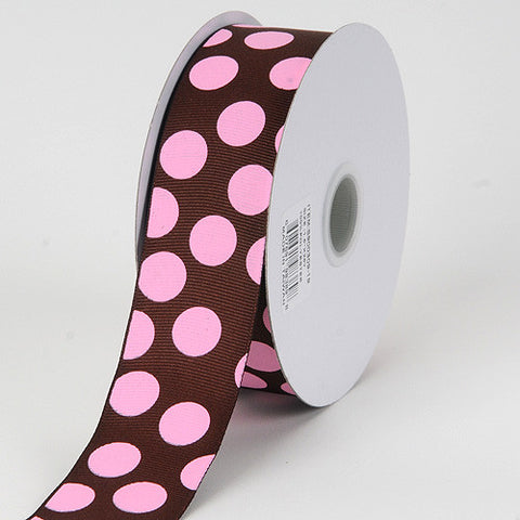 Grosgrain Ribbon Jumbo Dots Chocolate with Pink Dots ( W: 1-1/2 inch | L: 25 Yards ) -
