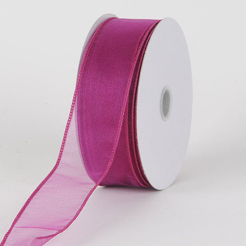 Organza Ribbon Thick Wire Edge 25 Yards Fuchsia ( W: 1-1/2 inch | L: 25 Yards ) -
