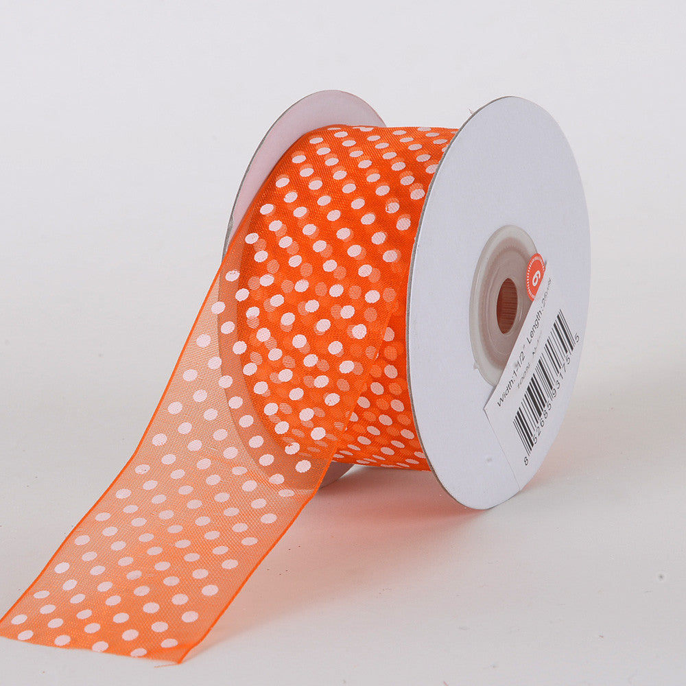 Organza Swiss Dots Ribbon Orange ( W: 3/8 inch | L: 25 Yards ) -
