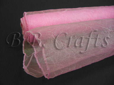 Pink  Premium Crinkle Organza Overlays  ( W: 24 inch | L: 10 Yards )- Ribbons Cheap