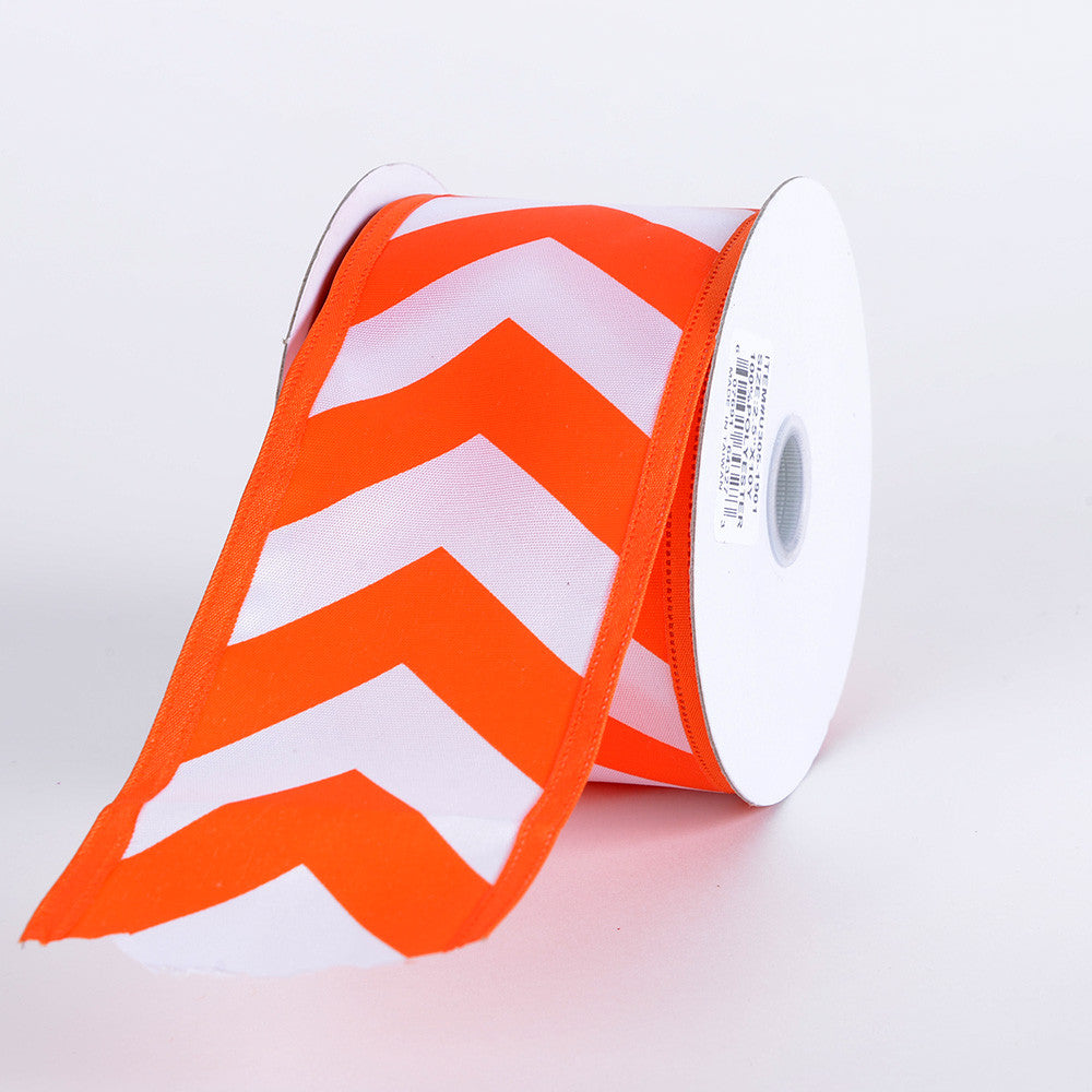 Chevron Print Satin Ribbon White with Orange ( 2-1/2 inch | 10 Yards ) -