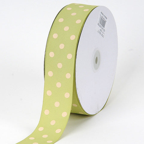 Grosgrain Ribbon Polka Dot Pear with Ivory Dots ( W: 3/8 inch | L: 50 Yards ) -