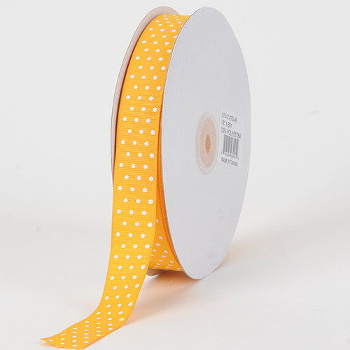 Grosgrain Ribbon Swiss Dot Light Gold with White Dots ( W: 3/8 inch | L: 50 Yards ) -