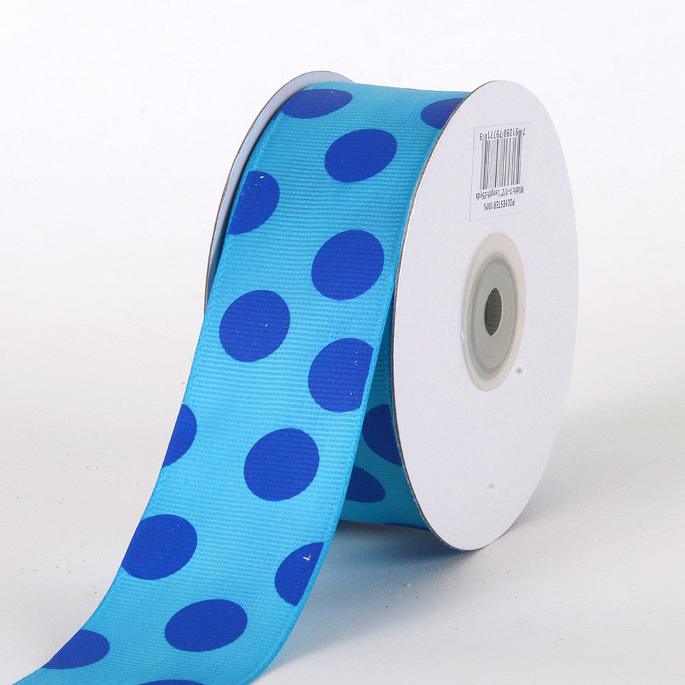 Grosgrain Ribbon Jumbo Dots Turquoise with Royal Dots ( W: 1-1/2 inch | L: 25 Yards ) -