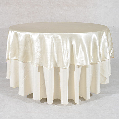 Ivory  108 Inch Satin Round Tablecloths  ( 108 inch | Round )- Ribbons Cheap