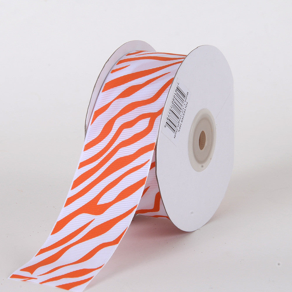 Grosgrain Ribbon Animal Print Orange ( W: 5/8 inch | L: 25 Yards ) -