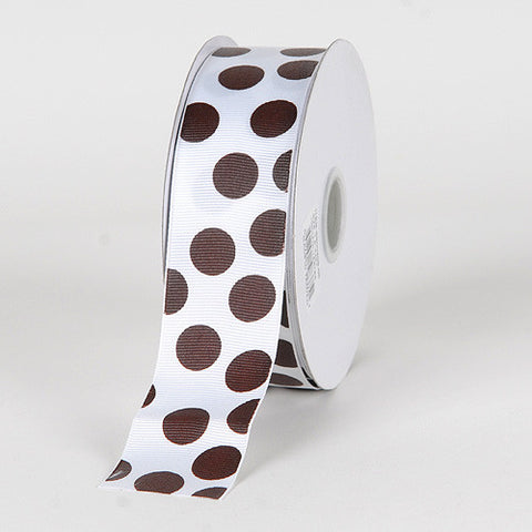Grosgrain Ribbon Jumbo Dots White with Chocolate Dots ( W: 1-1/2 inch | L: 25 Yards ) -