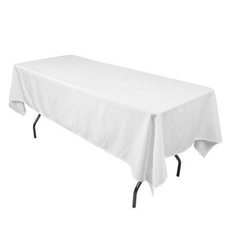 White 70 x 120 Inch Premium Polyester Rectangle Tablecloths- Ribbons Cheap