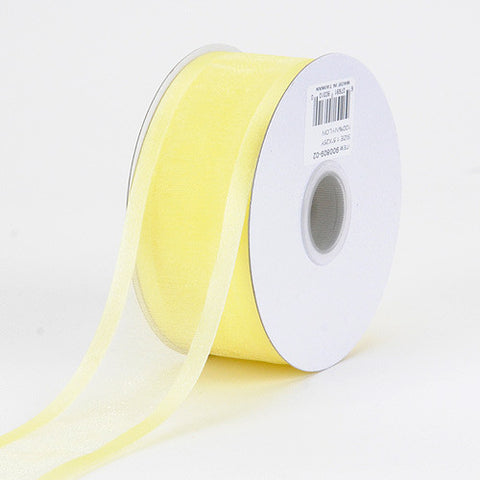 Organza Ribbon Two Striped Satin Edge Baby Maize ( W: 3/8 inch | L: 25 Yards ) -