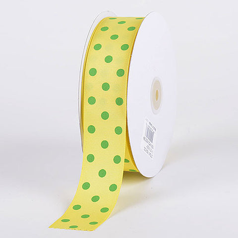Grosgrain Ribbon Polka Dot Canary with Apple Dots ( W: 3/8 inch | L: 50 Yards ) -