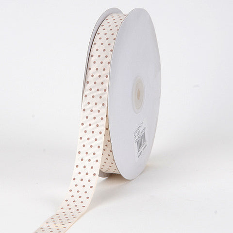 Grosgrain Ribbon Swiss Dot Ivory with Mocha Dots ( 5/8 inch | 50 Yards ) -
