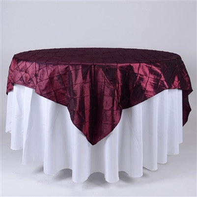 Burgundy  72 inch x 72 inch Square Pintuck Satin Overlay- Ribbons Cheap