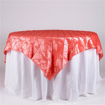 Coral 72 inch x 72 inch Square Pintuck Satin Overlay- Ribbons Cheap