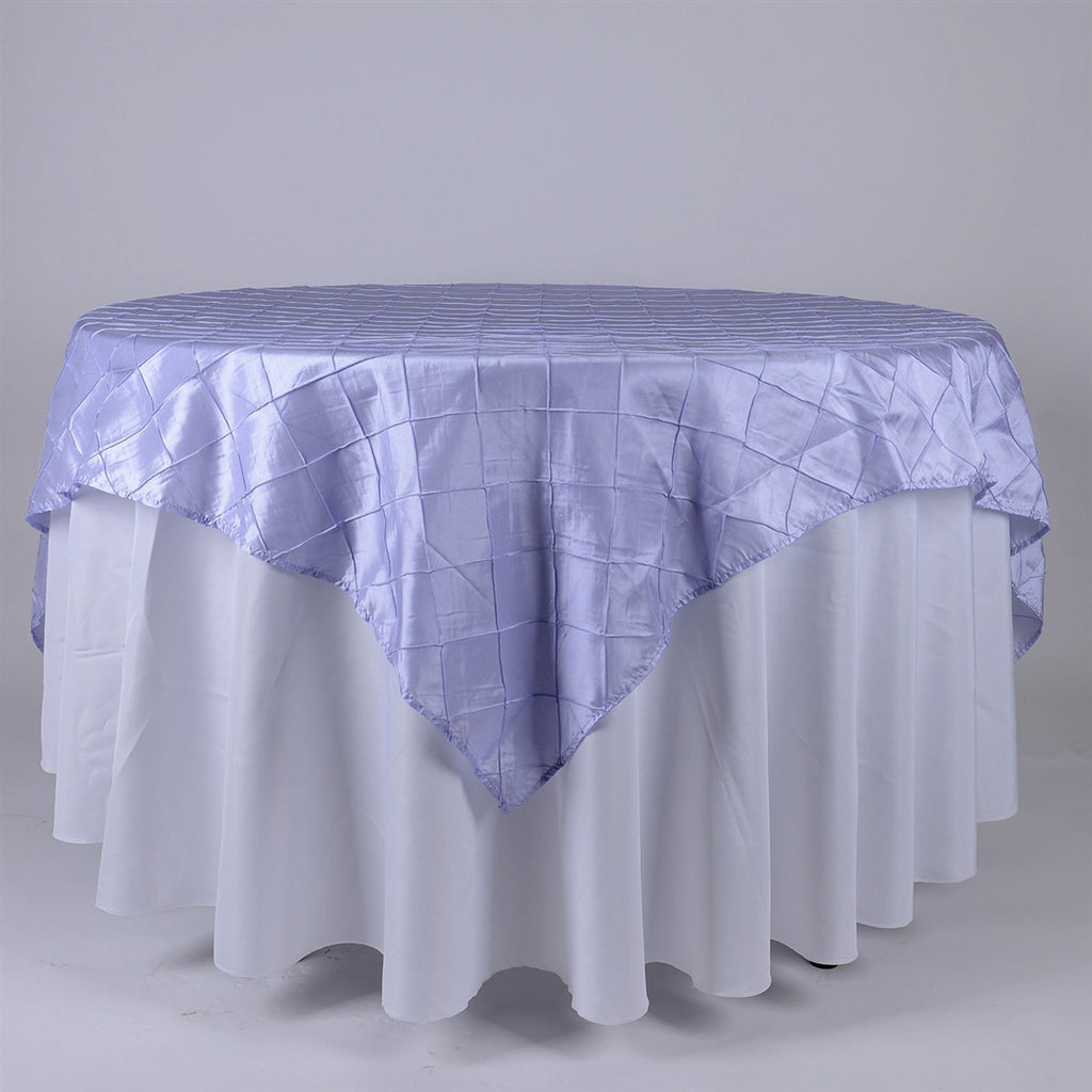 Lavender  72 inch x 72 inch Square Pintuck Satin Overlay- Ribbons Cheap
