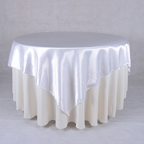 White  60 x 60 Satin Table Overlays  ( 60 x 60 Inch )- Ribbons Cheap